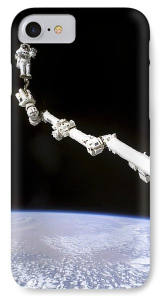 Astronaut Anchored To A Foot Restraint Phone Case by Stocktrek Images