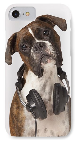 Boxer Dog With Headphones Phone Case by LJM Photo