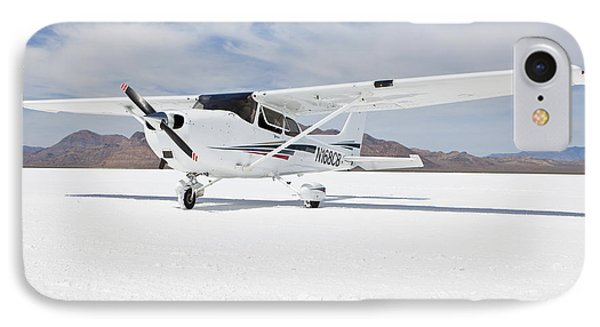 Cessna Aircraft On Bonneville Salt Flats Phone Case by Paul Edmondson