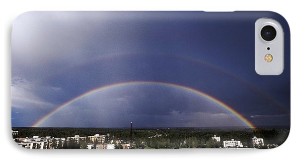 Double Rainbow Over A Town Phone Case by Pekka Parviainen