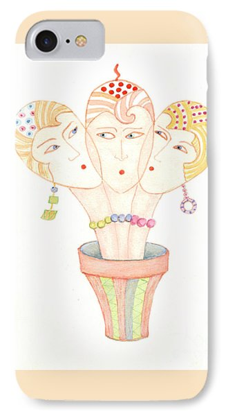 IPhone 7 Case featuring the painting Flower Pot Ladies by Nareeta Martin