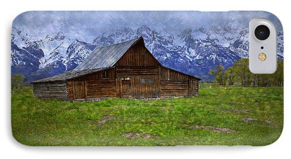 Grand Teton Iconic Mormon Barn Spring Storm Clouds Phone Case by John Stephens