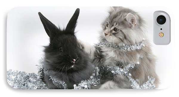 Kitten And Rabbit Getting Into Tinsel Phone Case by Mark Taylor