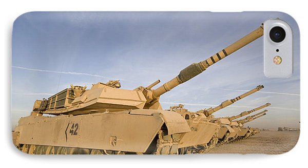 M1 Abrams Tanks At Camp Warhorse Phone Case by Terry Moore