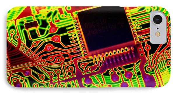 Microprocessor Chip, Computer Artwork IPhone Case