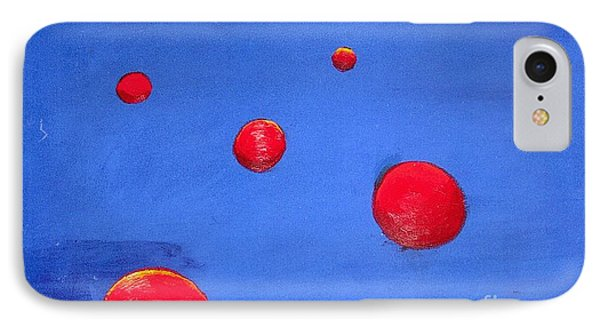 IPhone Case featuring the painting Orbs In Space 1 -- Crossing Paths by Rod Ismay