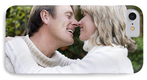 Smiling Couple Embracing IPhone Case by Ian Boddy