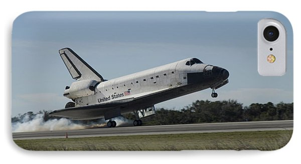 Space Shuttle Atlantis Touches Phone Case by Stocktrek Images
