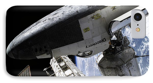 Space Shuttle Discovery Docked Phone Case by Stocktrek Images