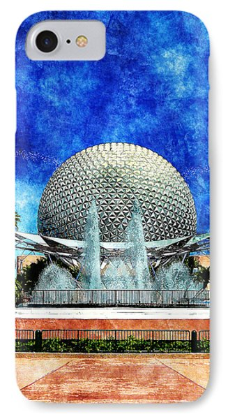 IPhone Case featuring the digital art Spaceship Earth And Fountain Of Nations by Sandy MacGowan