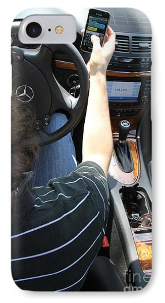 Texting And Driving Phone Case by Photo Researchers, Inc.