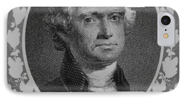 Thomas Jefferson In Black And White Phone Case by Rob Hans
