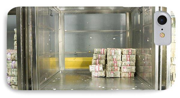 Us Dollar Bills In A Bank Cart Phone Case by Adam Crowley