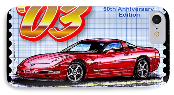 IPhone Case featuring the drawing 2003 50th Anniversary Edition Corvette by K Scott Teeters