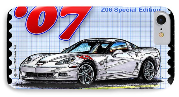 IPhone Case featuring the drawing 2007 Ron Fellows Z06 Special Edition Corvette by K Scott Teeters