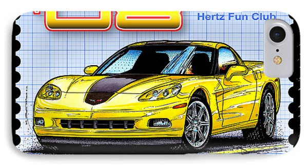 2008 Zhz Hertz Fun Club Corvette IPhone Case by K Scott Teeters