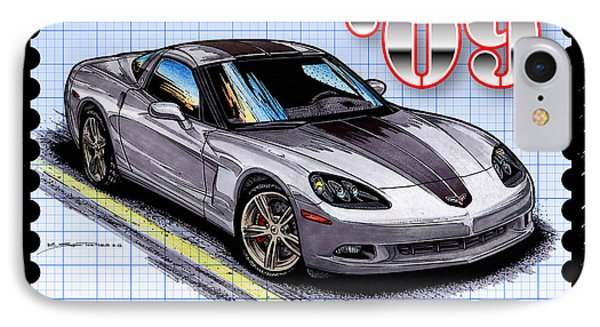 IPhone Case featuring the drawing 2009 Competition Edition Corvette by K Scott Teeters