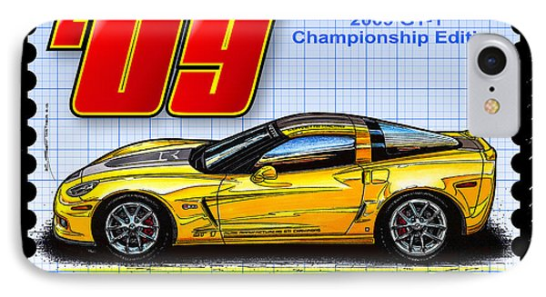 IPhone Case featuring the drawing 2009 Gt-1 Championship Edition Corvette by K Scott Teeters