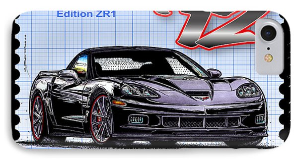IPhone Case featuring the drawing 2012 Centennial Edition Zr1 Corvette by K Scott Teeters