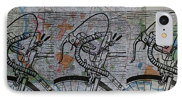 IPhone Case featuring the drawing Bike 2 On Map by William Cauthern