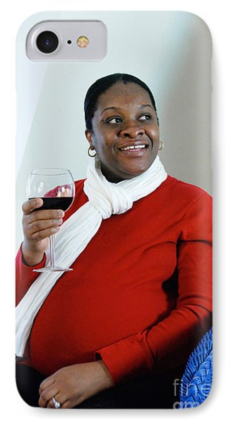 Pregnant Woman Drinking Wine Phone Case by Photo Researchers