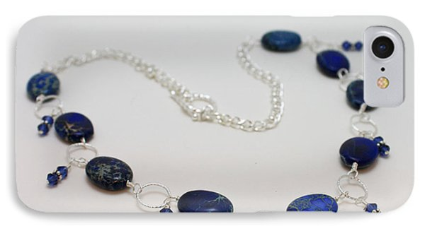3589 Blue Sea Sediment Jasper Necklace Phone Case by Teresa Mucha