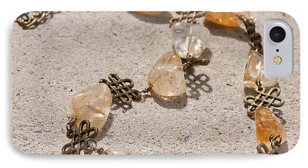 3591 Citrine Nugget And Antiqued Brass Necklace IPhone Case