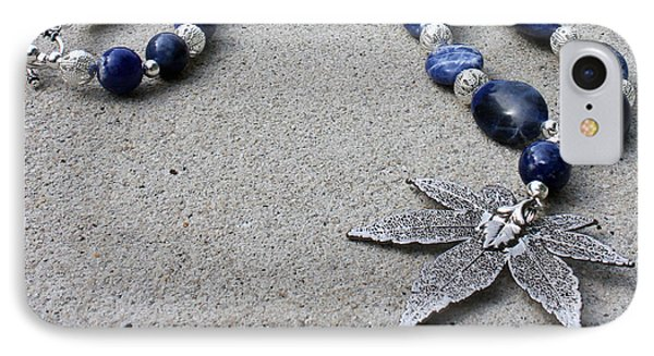 3593 Sodalite And Silver Necklace With Japanese Maple Leaf Pendant  IPhone Case by Teresa Mucha