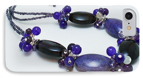 3598 Purple Cracked Agate Necklace Phone Case by Teresa Mucha