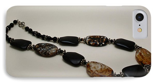 3617 Crackle Agate And Onyx Necklace Phone Case by Teresa Mucha