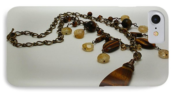 3618 Tigereye And Citrine Necklace Phone Case by Teresa Mucha