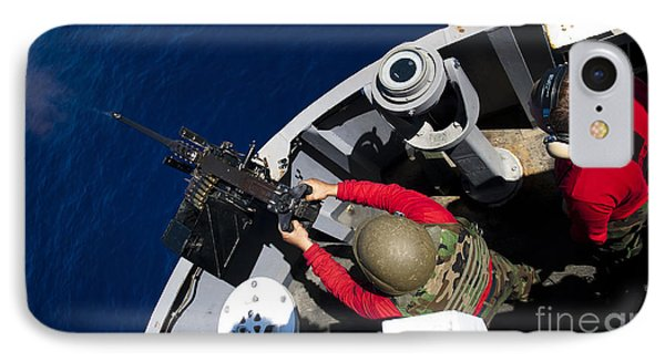 A Sailor Fires A .50-caliber Machine Phone Case by Stocktrek Images