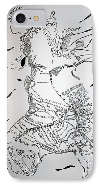 IPhone Case featuring the drawing Kiganda Dance - Uganda by Gloria Ssali