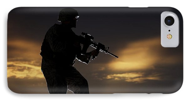 Partially Silhouetted U.s. Marine Phone Case by Terry Moore