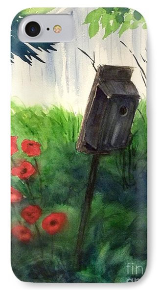 IPhone Case featuring the painting A Bird House In The Geddes Farm --ann Arbor Michigan by Yoshiko Mishina
