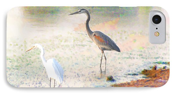 IPhone Case featuring the photograph A Blue Heron And His Bride by John  Kolenberg