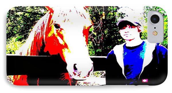 IPhone Case featuring the photograph a Boy and his Horse by George Pedro