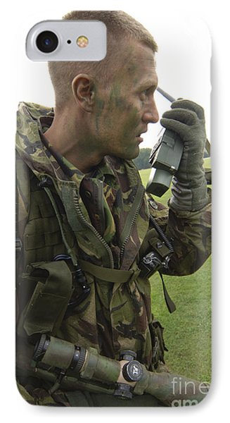 A British Army Soldier Radios Phone Case by Andrew Chittock