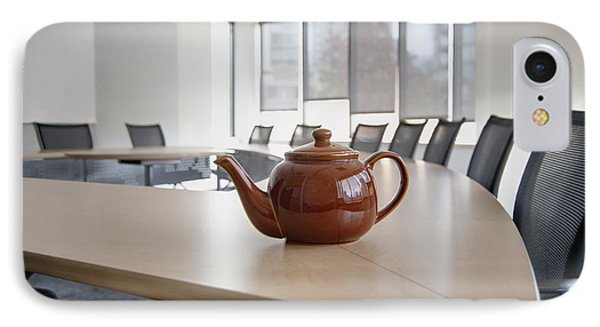 A Brown China Teapot On Boardroom Table Phone Case by Marlene Ford