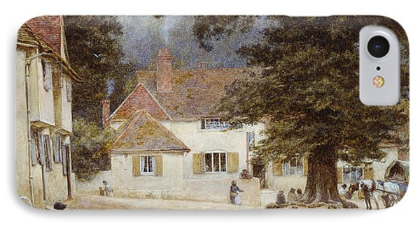A Cart By A Village Inn IPhone Case by Helen Allingham