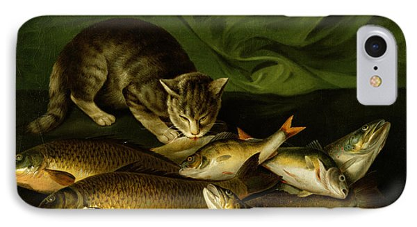 A Cat With Trout Perch And Carp On A Ledge IPhone Case by Stephen Elmer