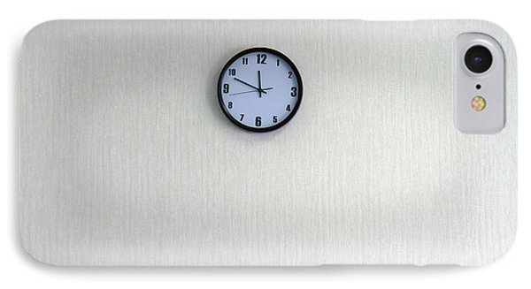 A Clock With A Blue Face On The Wall IPhone Case by Guang Ho Zhu