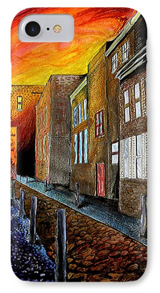 IPhone Case featuring the mixed media A Cobbled Street by eVol  i