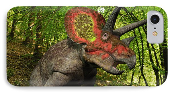 A Colorful Triceratops Wanders Phone Case by Walter Myers