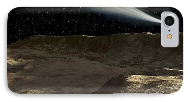 A Comet Passes Over The Surface Phone Case by Ron Miller