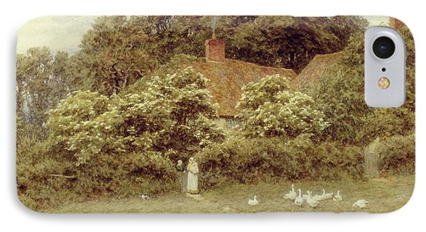 A Cottage At Farringford Isle Of Wight Phone Case by Helen Allingham