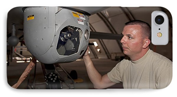 A Crew Chief Works On Mq-1 Predators Phone Case by HIGH-G Productions