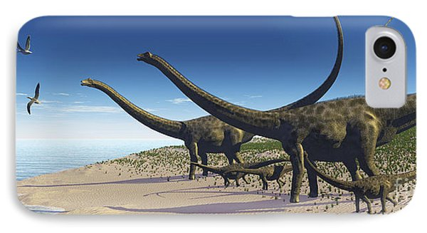 A Diplodocus Herd Comes Down To A Lake IPhone Case by Corey Ford