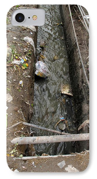 A Dirty Drain With Filth All Around It Representing A Health Risk IPhone Case by Ashish Agarwal