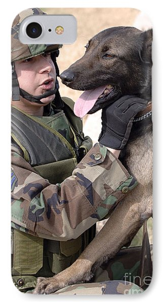 A Dog Handler And His Military Working IPhone Case by Stocktrek Images